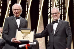 Palm d'Or winner Ken Loach and Thierry Fremaux, Cannes Film Fest director