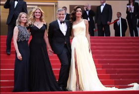Jodi Foster, Julia Roberts, George and Amal Clooney