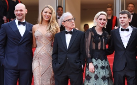 Woody Allen poses with Corey Stoll, Blake Lively, Kristen Steward and Jesse Eisenberg
