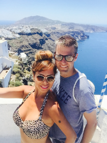 Cece and John honeymooning in the Greek Islands