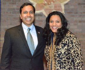 Raja Krishnamoorthi, Dem. candidate for Ill. 8th Congressional District, and Anuradha Behari
