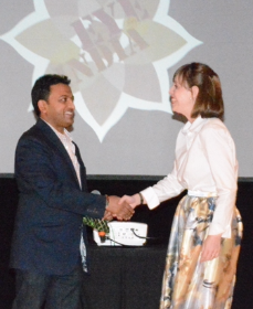 Bhavesh Patel and Rachel Hentrich, Columbia College student Sari Project winner