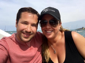 Collin Pierson and Michelle Durpetti aboard family yacht, the Andiamo