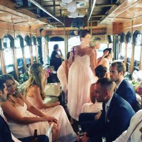 Kathleen Henson aboard newlywed Anna Treibers' wedding trolley