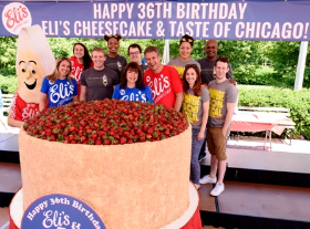Schulman family w/ cast members from Book of Mormon and SpongeBob Musical cut the 1,500 lb. cake!