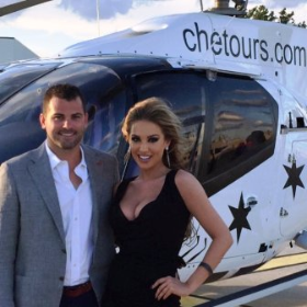 Trevor Heffernan and Jessica Foote in front of new Airbus H130