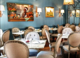 Chic, retooled dining room at Blue Door Kitchen & Garden
