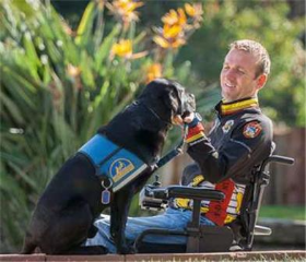 Veteran Lance Weir and his CC Service Dog Via
