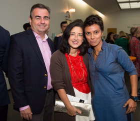 Brian and Jan Hiegelke with Fawzia Mirza (2015 3Arts Awardee)