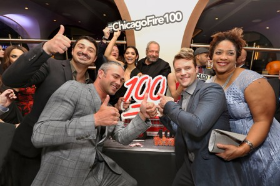 Cast members from Chicago Fire celebrate 100th episode at private event at Swift & Sons