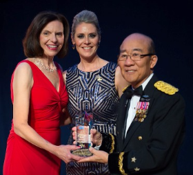 Pat Sanders (USO Illinois board chair), Alison Ruble (USO Illinois pres/CEO) with Major General James H. Mukoyama