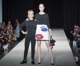 Designer Peach Carr with one of her designs.