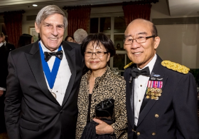 Captain Dave Truitt, Kyung Ja Mukoyama and Major General James Mukoyama