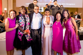 Bonnie Gordon, Exec. Dir. of Susan G. Komen, Dr. Funmi Olopade from University of Chicago, Kenny Williams, EVP of Chicago White Sox, Ta'Rhonda Jones, Empire. Dr. Sherri Prentiss and Zoraida Sambolin from NBC5 Chicago