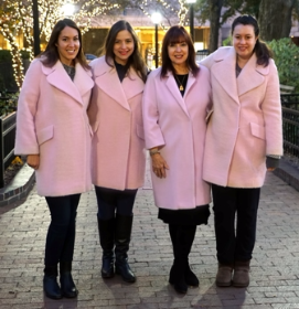 Haley, Kori, Maureen and Elana Schulman were pink coats just like they did 25 years ago for the first parade