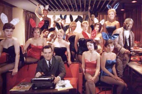 Vintage photo of Hef with Bunnies