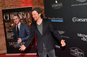 Hamilton's Miguel Cervantes poses beside ChicagoMOD cover