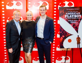 With Film Fest founder Michael Kutza and Cooper Hefner at world premiere of Playboy doc (Photo by Timothy M. Schmidt)
