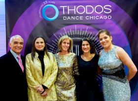 Thodos Dance creative collaborators Gary Chryst w/ gala honorary chair Ann Reinking, TDC board member Diane H. Reilly and former board chair Elaine Margulis, and TDC Founder and Artistic Director Melissa Thodos (R)