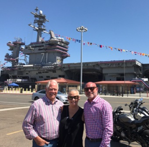 In front of USS Theodore Roosevelt with Chuck and Wayne Harth