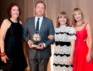 GSFC executive director Jean de St. Aubin, honoree Kevin Spacey, GSFC board chair Ellen Sandor and president of the School of the Art Institute of Chicago Elissa Tenny