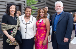 Merri Dee (philanthropist and former WGN anchor), Carol Mosely Braun (former Illinois Senator), Dr. Patricia Jones Blessman (Voices board member) and Stephen Blessman