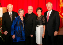 Chairs Dick and Maryjeanne Burke, Monsignor Michael Boland, Mary Ann and Al Moschner