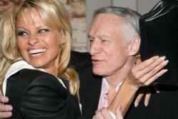 Pamela Anderson, who holds the record for most covers, with Hef