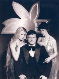 Playmates Debra Jo Fondren and Candy Loving with Hef