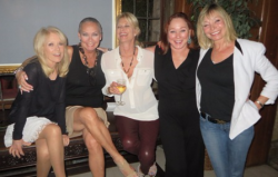 Alison Reynolds, me, Debra Jensen, Patti Connors and Monique St. Pierre at an intimate luncheon with Hef in LA
