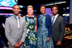 ASM board Chair Mellody Hobson and board secretary Nora Daley pose with ASM alumni Semaj Thomas (L, pastry chef at NoMi) and Darrius Thomas (R), student at Chicago's French Pastry School