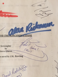 Part of a signed script from the first Harry Potter film