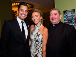 Bill and Giuliana Rancic and Fr. Scott Donahue, Mercy Home president