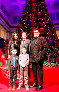 (L to R) Macy's State St. VP/Manager Kim Groth, Jeff Gennette, Macy's CEO, The Voice winner Jordan Smith and Make-A-Wish Ambassador Jack with his brother Sean