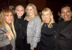 With former Chicago Playboy Bunnies Cheryl Carioscia (L) and Jackie Williams (R) and friends at Chicago service