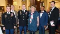 Lt. Col. Derek R. Keller, John Shwan, CSM Corey J. Fairchild, Col. Jennifer Pritzker, Leon Mangum, Ken Clarke