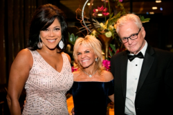 Emcee/WGN-9's Micah Materre with Donna and Jon Kleinman