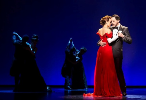 "Samantha Barks, Steve Kazee and the Company at world premiere of ""Pretty Woman The Musical"" at the Oriental Theatre (Photo by Matthew Murphy)"