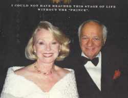 Mamie's elegant invitation included this sweet tribute to her late love Julius Walton, her true prince!