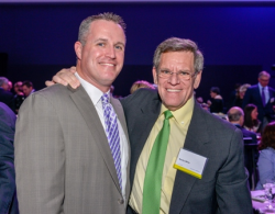 Northwestern University football coach Pat Fitzgerald with Chicago Blackhawks owner Rocky Wirtz