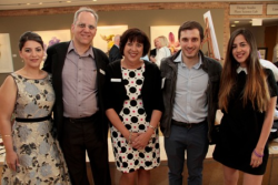 Samar Hawila of Israel (a program alum), Rick Rosenfeld (Hands of Peace exec. dir.), Gretchen Grad (Hands of Peace founder), Adam Heffez (a program alum) and Shira Gemer of Israel (a program alum)
