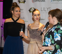 Past winners Rebecca Brunner and Miriam-Rose are interviewed by Kelsie Huff