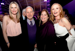 Stephanie March ('96), Northwestern president Morton Schapiro, Mimi Schapiro and Marg Helgenberger ('82)