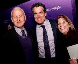 Northwestern University Pres. Morton Schapiro , Brian d'Arcy James '90 and Mimi Schapiro. (Photo by Jasmine Shah)