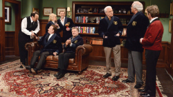 Justin Timberlake (4th from L) celebrates his fifth time as host with (from L) Dan Aykroyd, Tom Hanks, Candice Bergen, Alec Baldwin, Steve Martin, Chevy Chase and Martin Short in an iconic 2013 sketch.