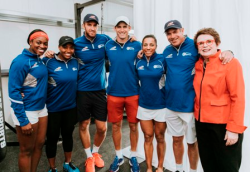 World Team Tennis players with the legendary Billie Jean King