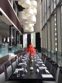 Twirling inside Spiaggia's elegant dining room before Barilla lunch