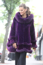 Purple sheared beaver and fox jacket