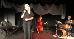 Whitney Lasky introduces Morris at his one man show