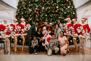 Make-A-Wish Family with Santa and the ZZAZZettes
